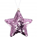 Paillettes star Payot, to hang, D9cm, pink